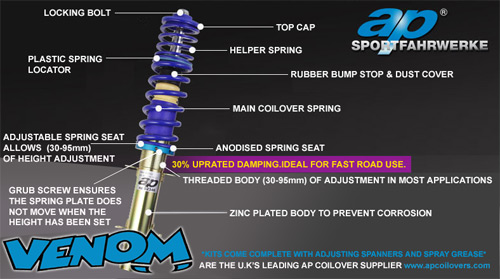 Technical Drawing of an AP Coilover